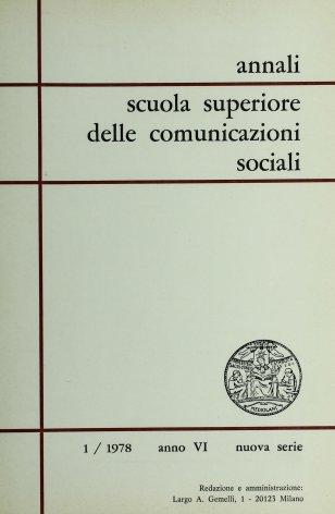 ANNALI SCUOLA SUPERIORE DELLE COMUNICAZIONI SOCIALI - 1978 - 1
